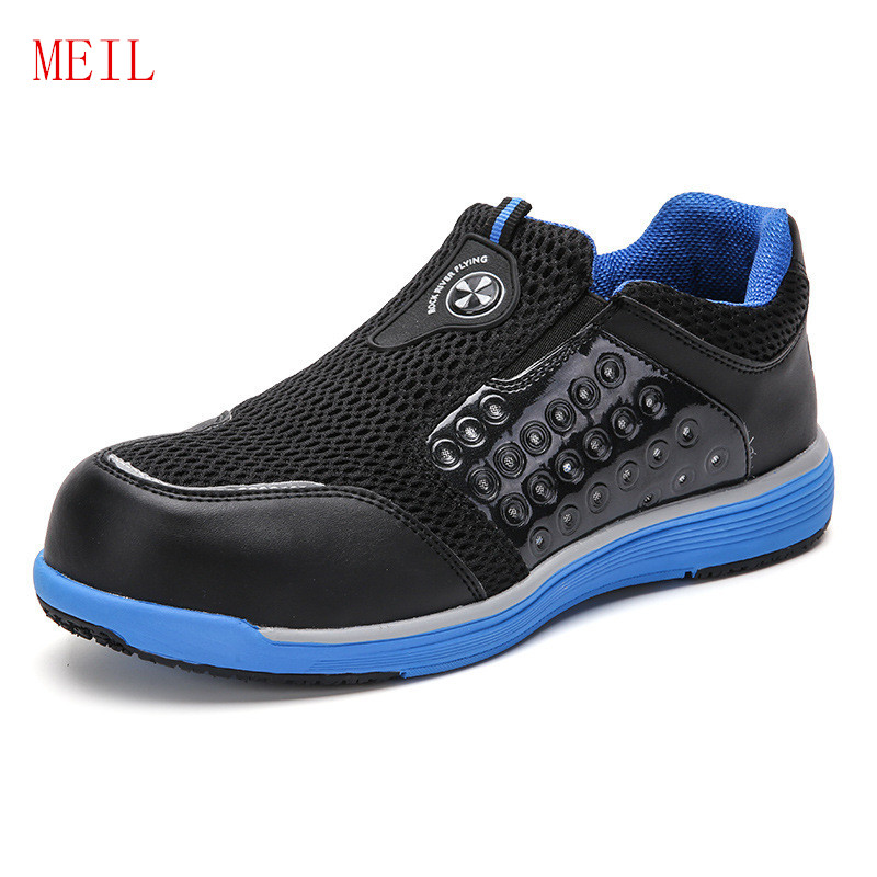 Summer Breathable Steel Toe Shoes Work Safety Shoes for Men Fashion Anti-pierce Building Site Soft Security Boots Sneakers