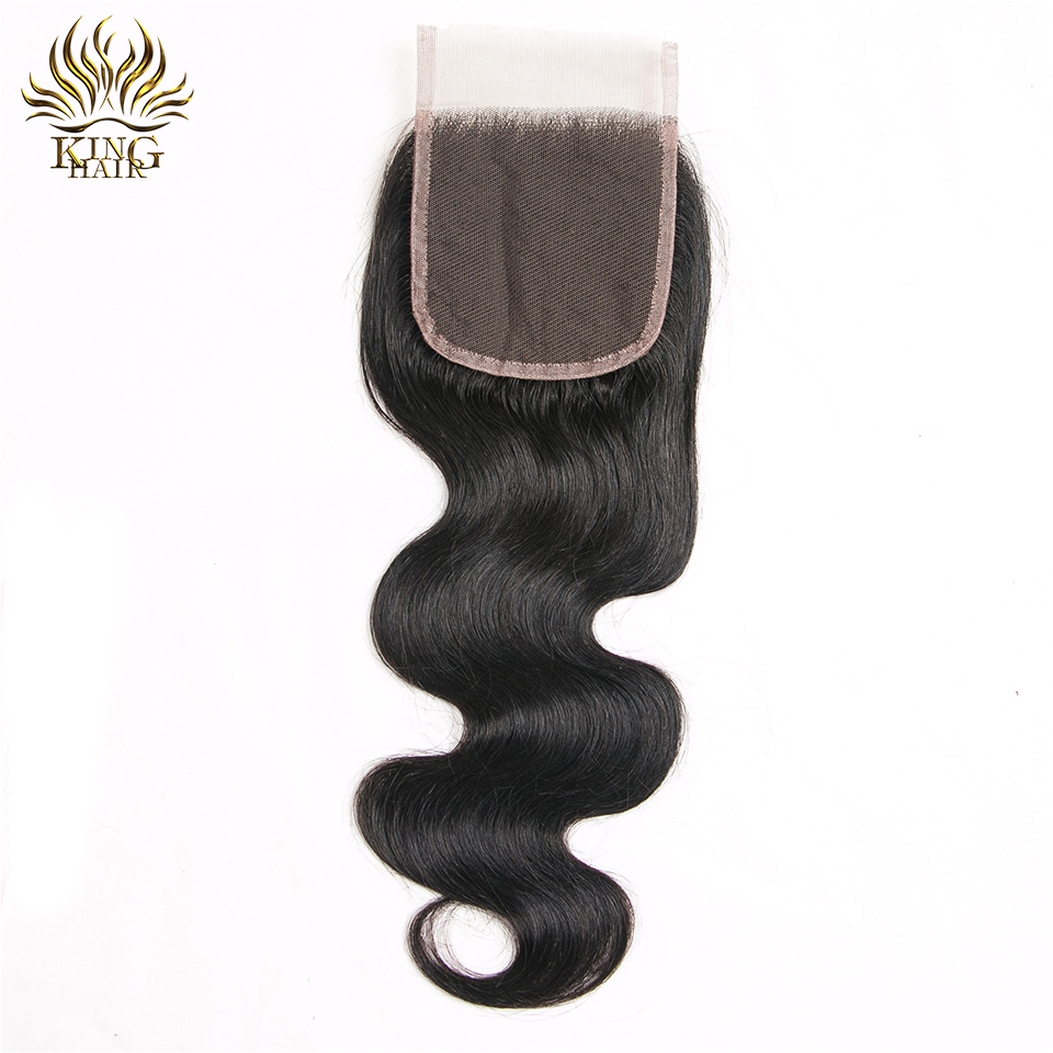 King Hair Products Human Hair Weave Bundles With Closure Remy Hair Weft 4PCS Peruvian Body Wave Hair Bundles With Lace Closure