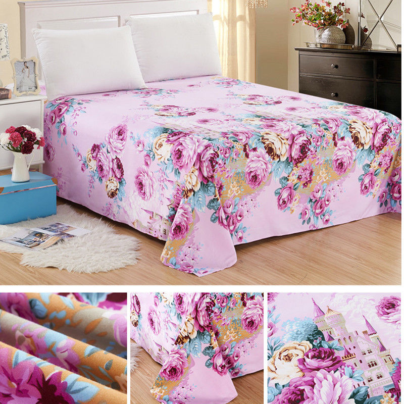 Full Fitted Sheet Bed Sheets  Poly Cotton 4 Sizes New Flora Color Sheets