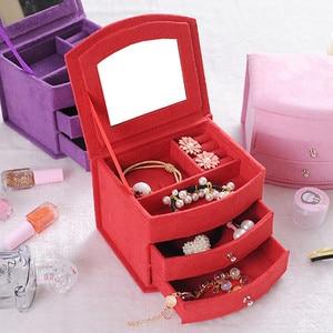 Image 2 - Sıcak satış yüksek kalite kadife üç kat taşınabilir çok fonksiyonlu kolye yüzük takı kutuları moda tasarım hediye kutusu