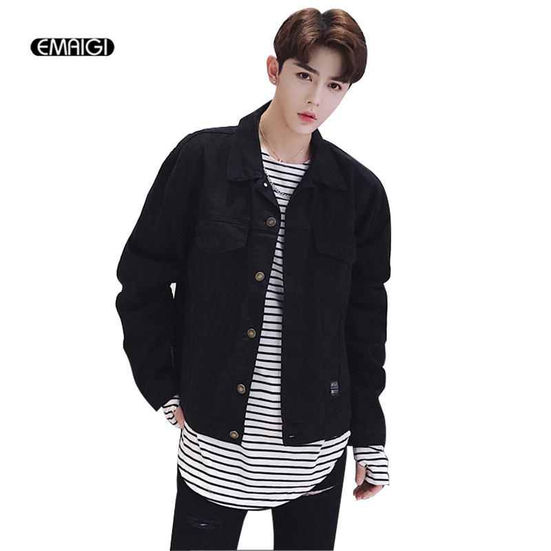 Men High Street Fashion Casual Black Short Denim Jacket Male Loose Jean Coat Outerwear