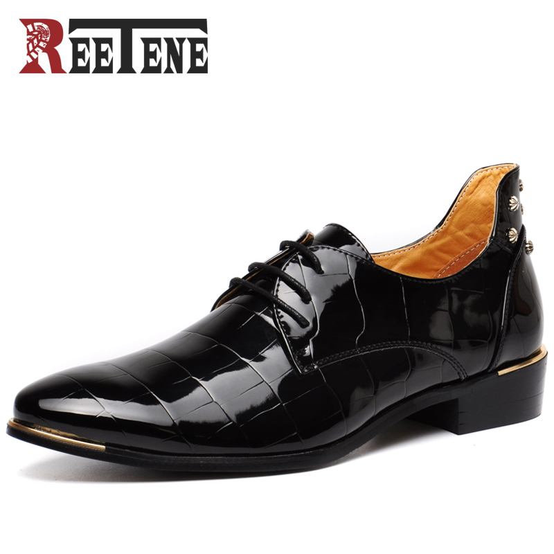 REETENE Rivets Men Dress Shoes Autumn Fashion Patent Shoes For Men High Quality Casual Men Shoes Mens Flats Men Wedding Shoes