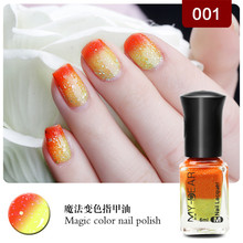 1Pcs 6ml Available Thermal Nail Polish Peel Off Polish with Paillette Temperature Color Changing Nail Polish 27Colors