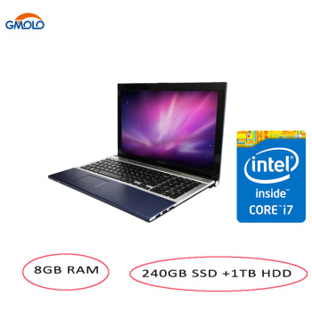 15.6inch Core I7 gaming notebook computers 8GB RAM Maxi 240GB SSD +1TB HDD 1920*1080 screen DVD ROM free shipping laptop 1