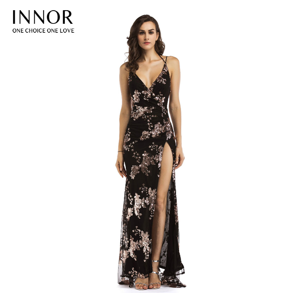Sexy lace up halter sequin party dresses women Backless high split maxi dress women Christmas 2017 long dress vestidos