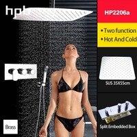 HPBทองเหลืองตารางหัวฝักบัวก๊อกน้ำชุดห้องอาบน้ำฝักบัวสายฝนระบบอาบน้ำผสมน้ำร้อนและเย็นอ่า...