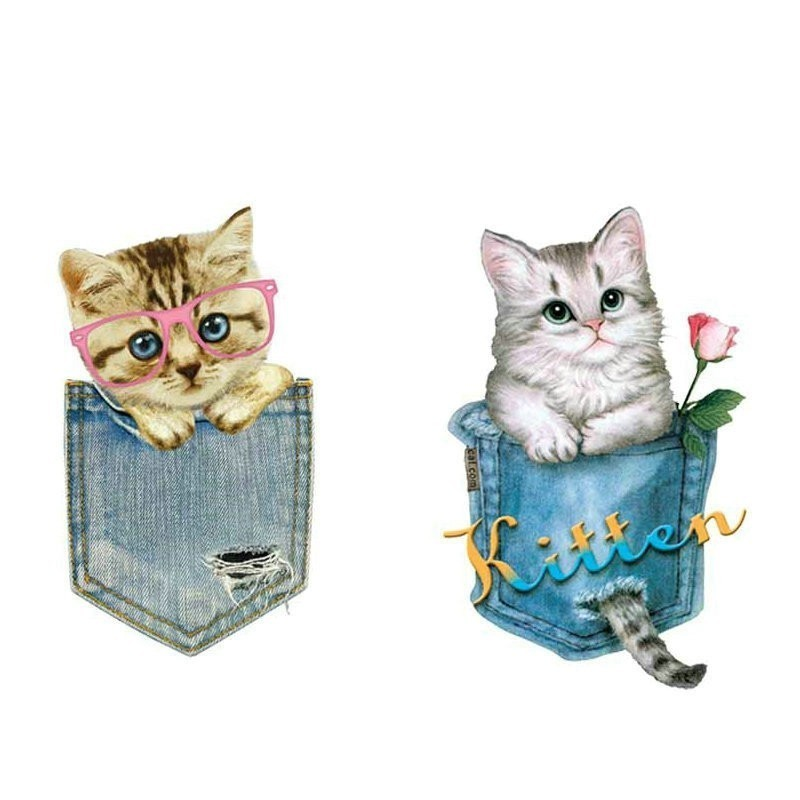 cat pocket Heat Transfer Printing Stickers Fashion PVC Patch deal with it Clothes T shirt girl iron on patches for clothing