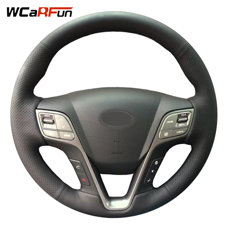 WCaRFun Auto Car Steering wheel cover Artificial leather Car styling interior Accessories for HYUNDAI Santa Fe 2013 Grand ix45