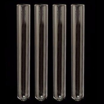 4 piezas 20x150mm tubo de vidrio borosilicato tubo de ensayo de vidrio Pyrex vidrio soplado tubos para laboratorio Escuela Educación suministros