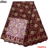 African Lace Fabric Embroidered Nigerian Laces Fabrics High Quality Tulle Mesh French Lace Fabric For Wedding Dresses F4 2075