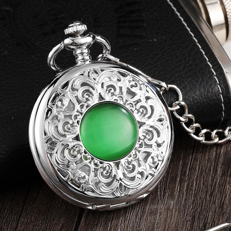 Cruz do Vintage Relógio de Bolso Mecânico Vento Homens Relógio Esqueleto Steampunk Prata Mulheres Fob Cadeia Gemstone Imitar Reloj Mão