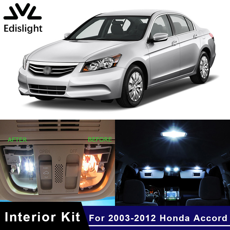 Edislight 10Pcs White Ice <font><b>Blue</b></font> <font><b>LED</b></font> Lamp Car Bulbs Interior Package Kit For 2003-2012 Honda Accord Map Dome Door Plate Light image