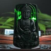 מחיר נמוך במיוחד אמיתי טבעי בורמזי סטון תליון שרשרת תכשיטי תכשיטי זכר תליון בודהה טאתאגאטה JADES שחור