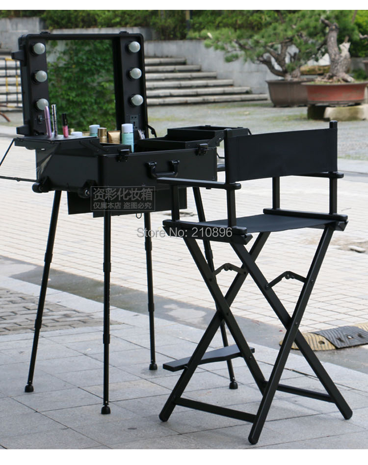 make up chair steel hd image 2 pieces makeup case with lights and aluminum foldable artist hairdressing