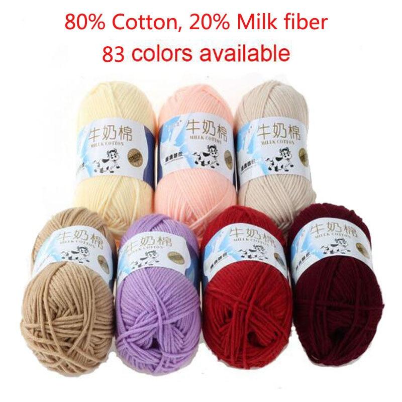 3 Pcs / Lot 5 Strands Milk Cotton Knitting Yarn Soft Warm Baby for Hand natural milk cotton thick yarn crochet