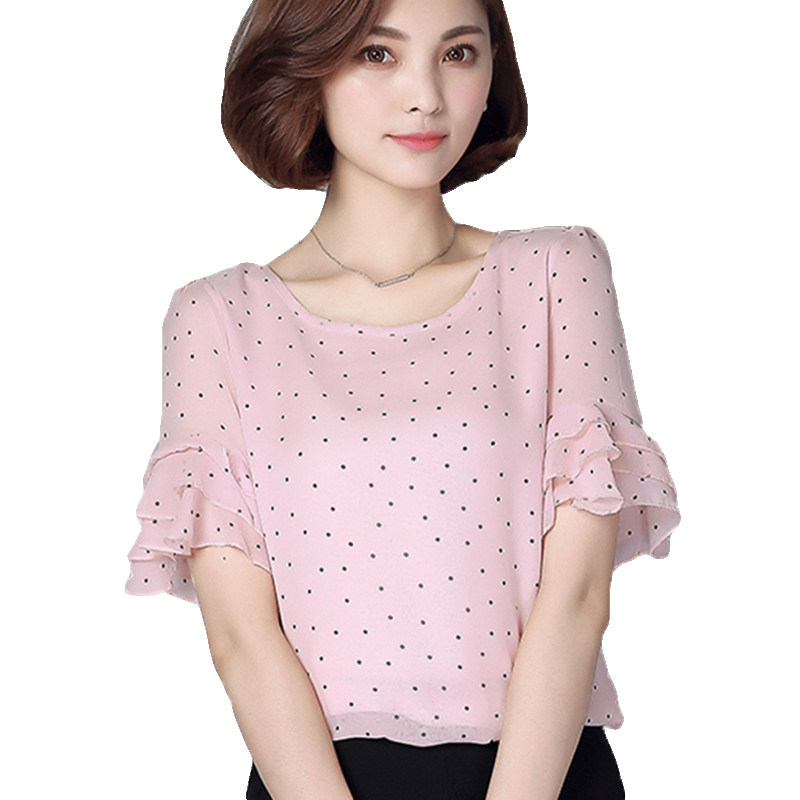 Summer Chiffon   Blouse     Shirt   Women Polka Dot Womens Tops And   Blouses   Plus Size 5xl Loose Ruffle Blusas Femininas 2019 O Neck Pink