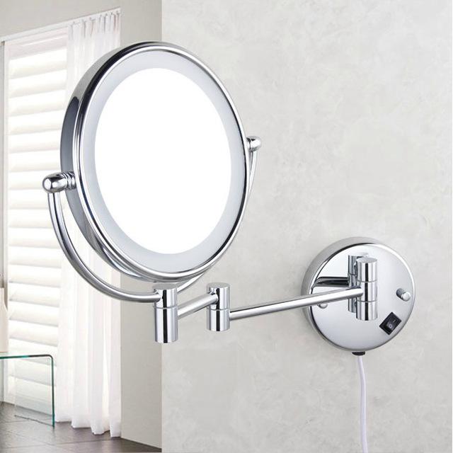Espejo de maquillaje profesional con luz 8 pulgadas led compacta espejo cosmético dama de 3X doble cara lupa espelho do jabón líquido