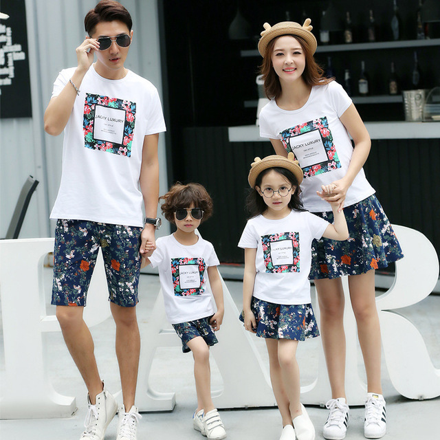 3bba91a0 Wholesale cotton Korean Family pack summer 2019 new short sleeve t-shirts  suit mother father baby tops