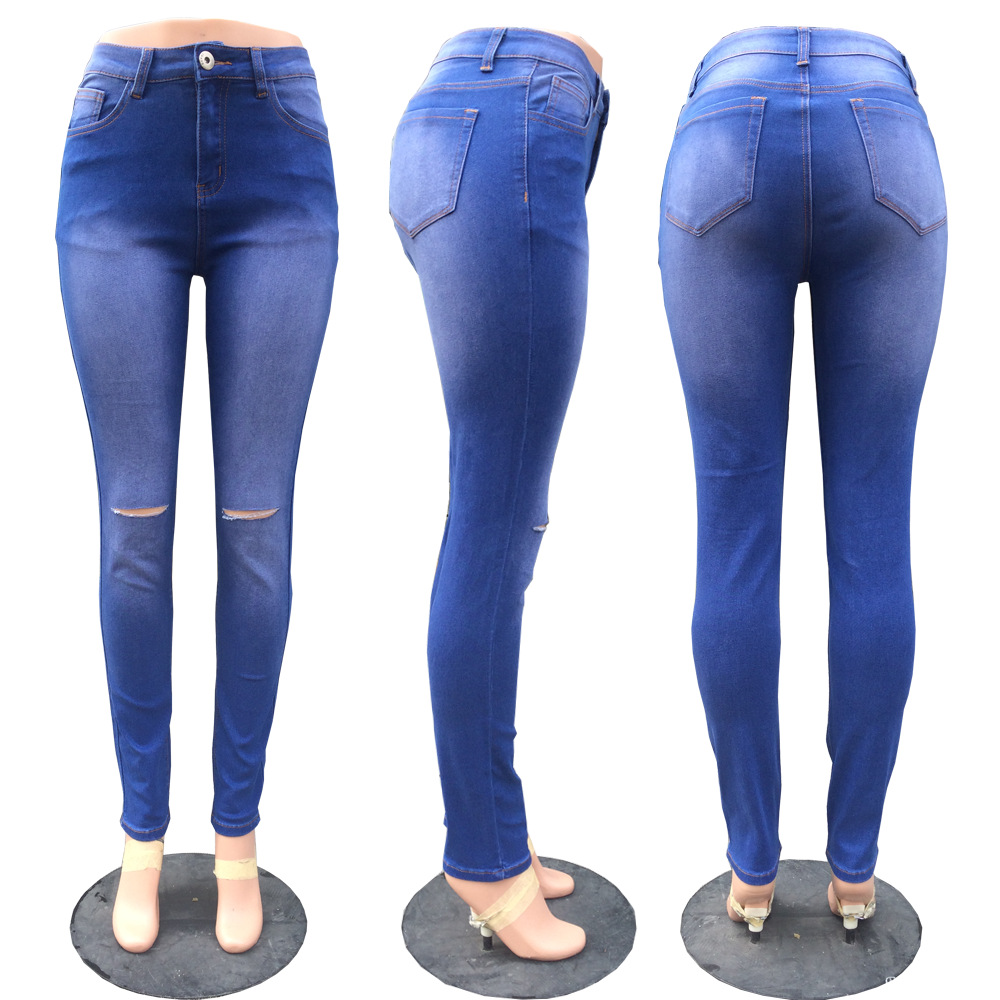New Ms. Washing Pants Large Size Jeans Knee Opening Thin Skinny Sexy Elasticity Wild Feet Pants S--2xl Size