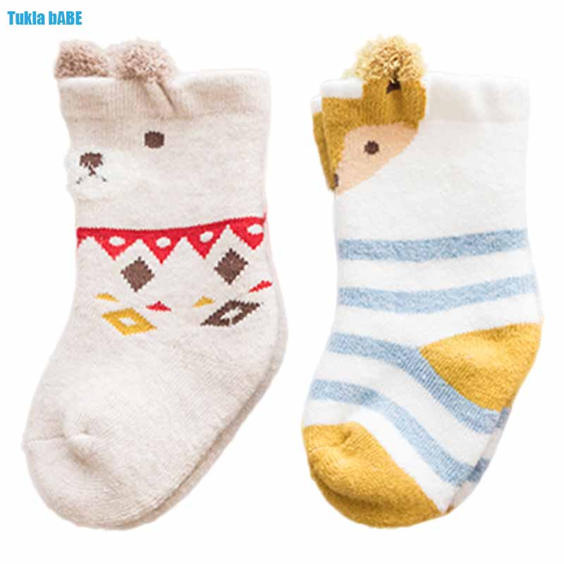 3Pairs Winter Autumn Thicken Warm Infant Cartoon Animals Terry Socks Baby Sockings Toddlers High Socks