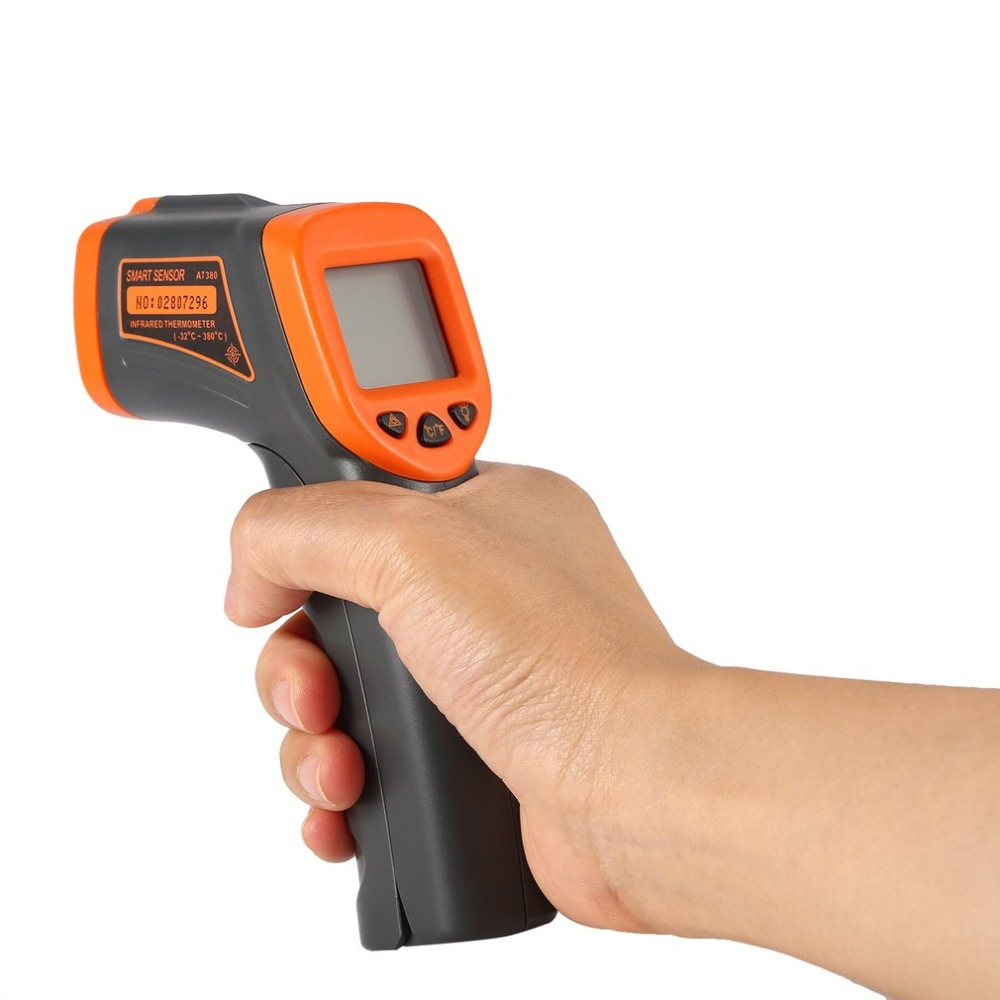 Dropshipping LCD AT380 Termometro A Infrarossi Senza Contatto Termometro A Infrarossi Temperatura Pirometro IR Point Laser Gun