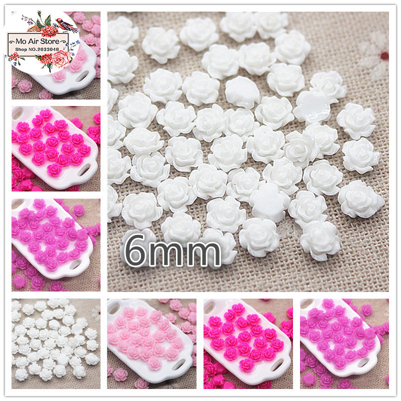100pcs 6mm High Quality Mix Color Small Flower Resin Flatback Cabochon DIY Jewelry/phone/nail Art Decoration No Hole