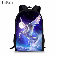 THIKIN Rainbow Unicorn Print Student Backpack Cute Cartoon Teenagers Girls Boys School Bagpack Kids Children Large Book Bag