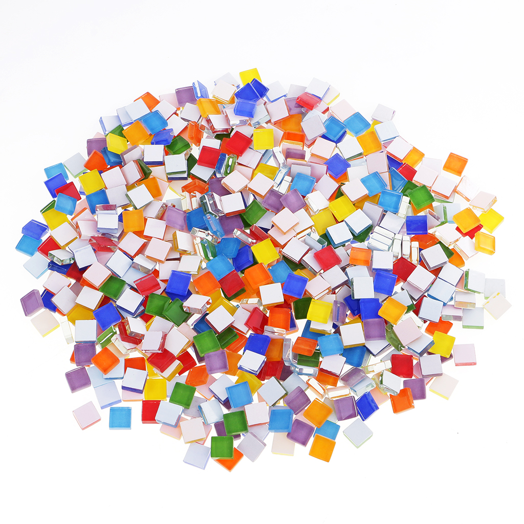 390 pieces assorted color square glass mosaic tiles for for Mosaic pieces for crafts