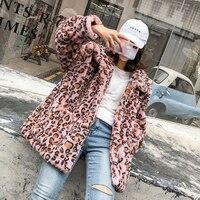 Winter Warm Women's Faux Fur Coat Thick Leopard Brown Pink Outwear Size S XL A6