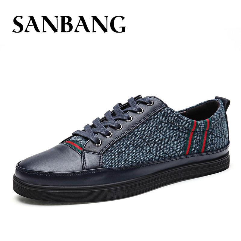 SANBANG Spring Autumn Men's Genuine Leather Shoes Casual Male Adult Leather Brand Walking Driver High Quality Footwear Man fx5 vesonal 2017 brand casual male shoes adult men crocodile grain genuine leather spring autumn fashion luxury quality footwear man
