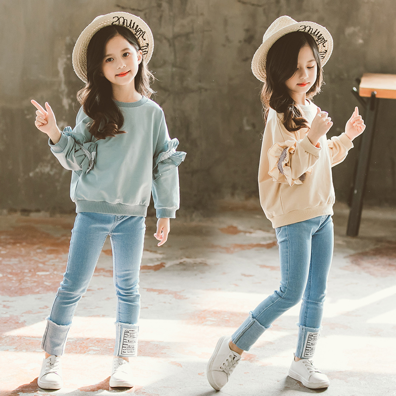 Fashion Girls Clothes 2019 Clothing for Girls  Kids Clothes Girls 8 10 12 14 Years Teen Clothes Solid Shirt + Denim Pants 2 Pcs Одежда