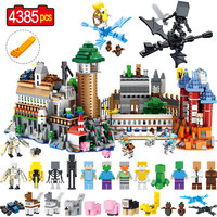 Создатель большой волшебный замок модель строительные блоки Legoing Minecrafted Мини Дракон Стив зомби цифры Кирпичи Детские игрушки 4385 шт.