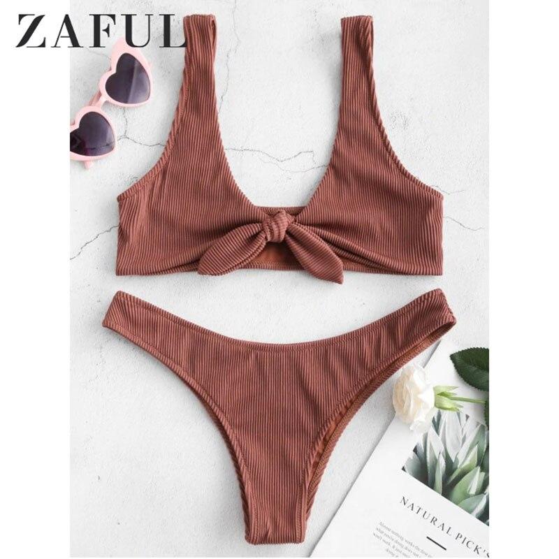 ef48cc94b4d72c Detail Feedback Questions about ZAFUL Textured Ribbed Tank Bikini Set Tie  Front Swimsuit Plunging Neck Swimwear Women Bikini Bathing Suit Women  Biquini on ...