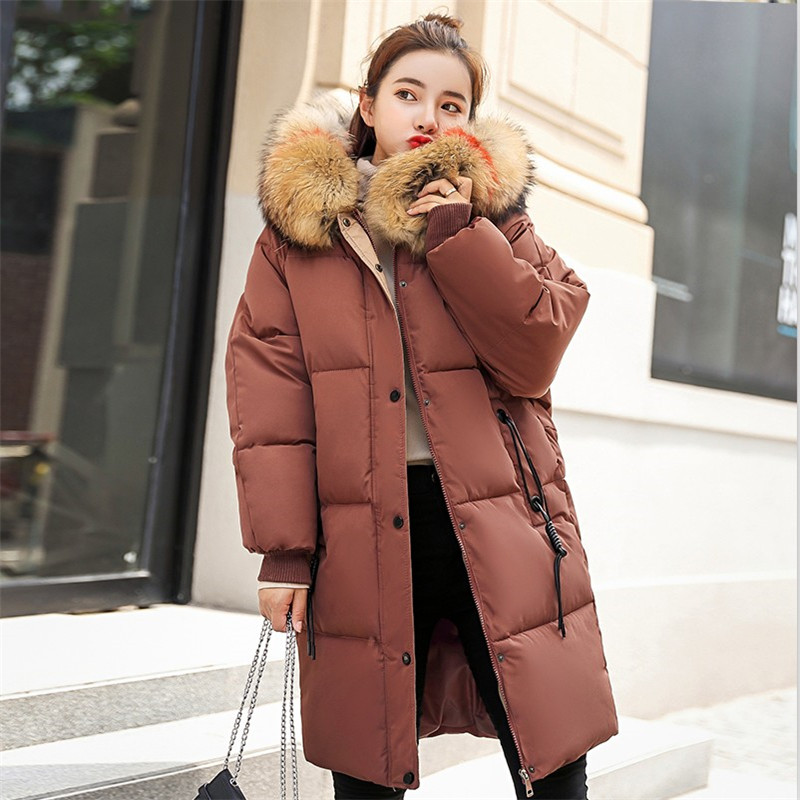 2019 Fashion Women Wniter Fur Long   Parka   New Hooded Thick Jacket Warm Casual Cotton Coat Plus Size Loose Slim Female Bread   Parka