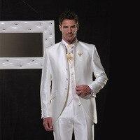 Цвета слоновой кости/белый атлас мужские костюмы Классический Ретро Италия Свадебный костюм для мужчин элегантные вечерние смокинги Стенд