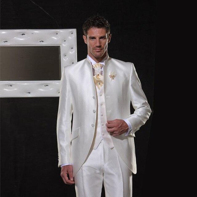 Ivoire/blanc Satin hommes costumes classique rétro italie mariage costume pour hommes élégant formel Tuxedos col montant soirée costume 3 pièces
