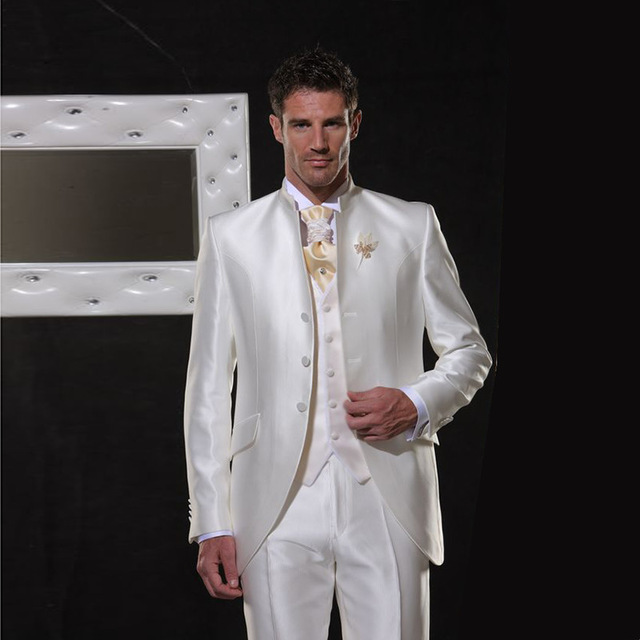 Ivory/White Satin Men Suits Classic Retro Italy Wedding Suit For Men Elegant Formal Tuxedos Stand Collar Evening Party Suit 3PCS