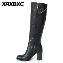 XAXBXC Retro British Style Pu Leather High Heel Long Boots Women Boots Zipper Surround Pointed Toe Handmade Casual Lady Shoes