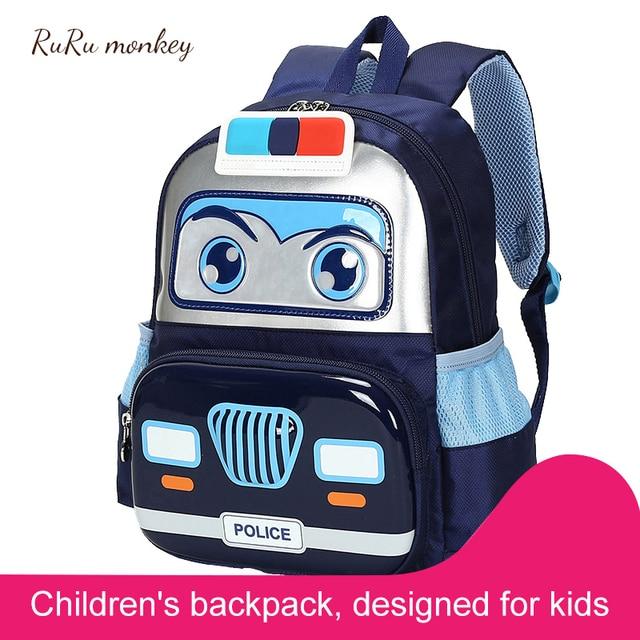 3D Car Kindergarten Backpack Children School Bags Student Satchel Cartoon Knapsack For Boys Orthopedic Mochilas Escolares