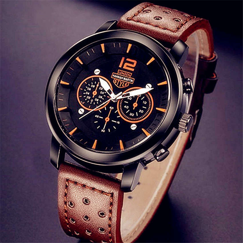 relogio masculino Hannah Martin Watch Men Military Quartz Watch Mens Watches Brand Luxury Leather Sports Wristwatch Date Clock oulm mens designer watches luxury watch male quartz watch 3 small dials leather strap wristwatch relogio masculino