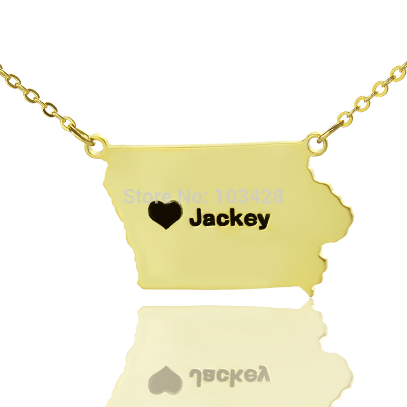 Personalized Gold Color State Necklaces DIY Iowa State Shaped Necklaces Gold Color Map Charms Necklaces