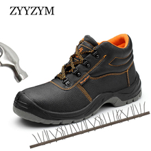 ZYYZYM Steel Toe Shoes Men Safety Boots High-Top Work Anti-piercing Protection Footwear Outdoors Man
