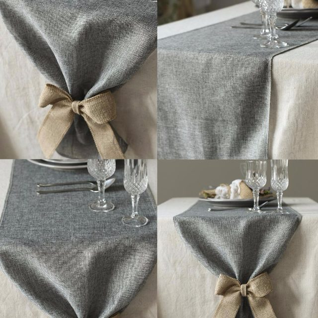Online shop table runner burlap natural jute imitated linen rustic table runner burlap natural jute imitated linen rustic decor wedding table decoration accessories khaki gray party tablecloth junglespirit Image collections