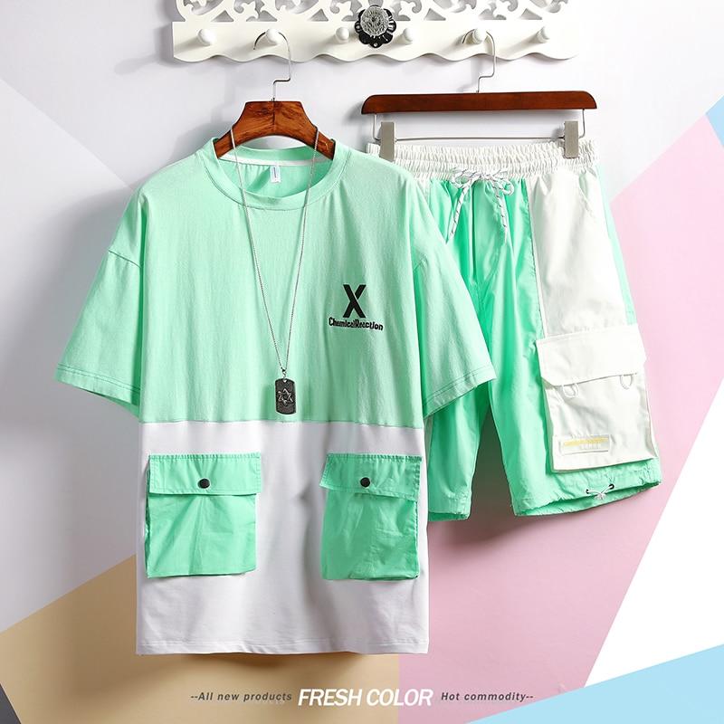 M-XXXL 2019 Men's Shorts Sets Two Piece Set Top And Pants Casual Mens Short Sets Summer Clothes For Men Tracksuit