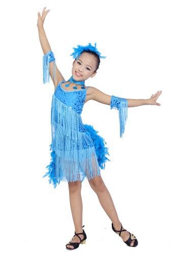 DB23553 fringe feather sequin latin dance dress-6
