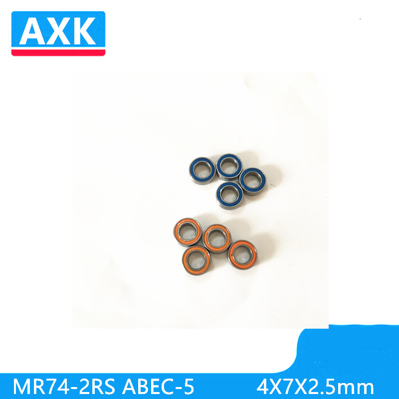 5PCS  4X7X2.5 Blue/Orange  Rubber Bearings  ABEC-5  MR74-2RS ABEC-5