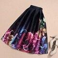 Womens Midi Patinador Resorte de La Falda del Tutú de la Falda de Cintura Alta Mujeres Otoño Vintage de Lujo Impresa Flor del vestido de Bola Plisado Faldas saia