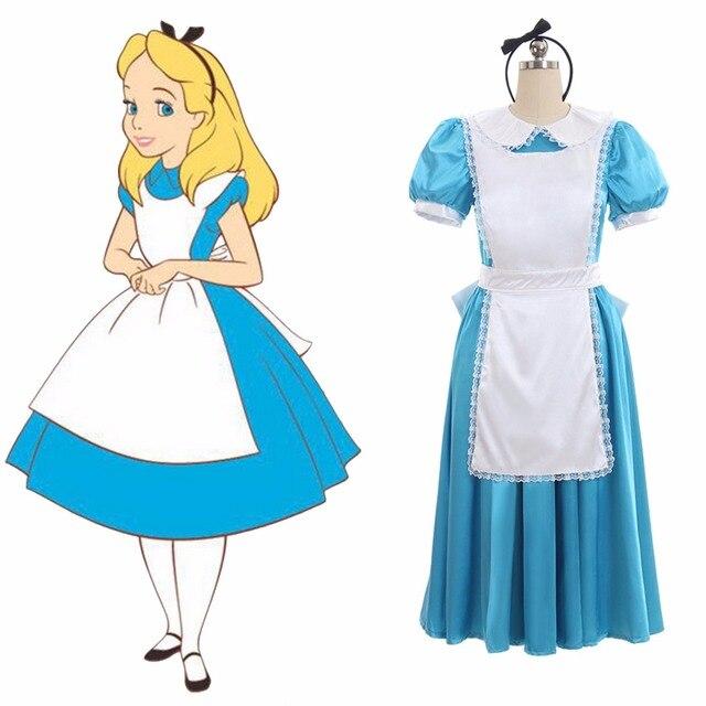 6e9a5375a0a Robe Cosplay Alice au pays des merveilles sur mesure Alice Lolita robe  tablier Costume L0516