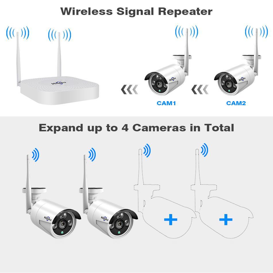 Hiseeu 4CH 960P/1080P Wireless CCTV camera System wifi 2pcs 1.3MP ...