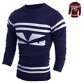 Freeshipping New Men's Clothing 2015 Autumn O-neck Sweater Stripe Casual Knitted Slim Fit Men Sweater H9020